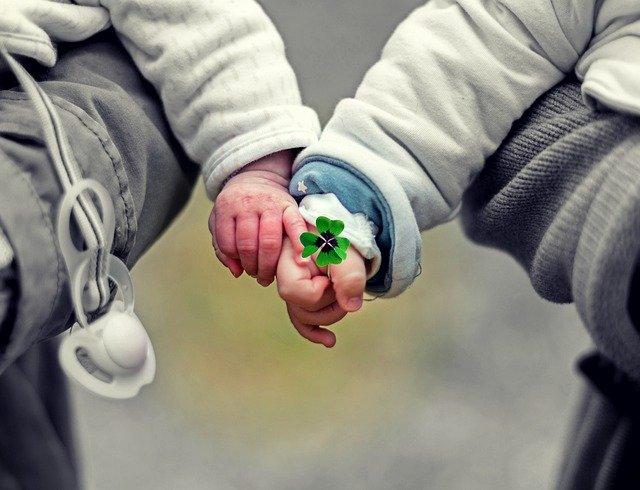 手を繋ぐ赤ちゃんとクローバー
